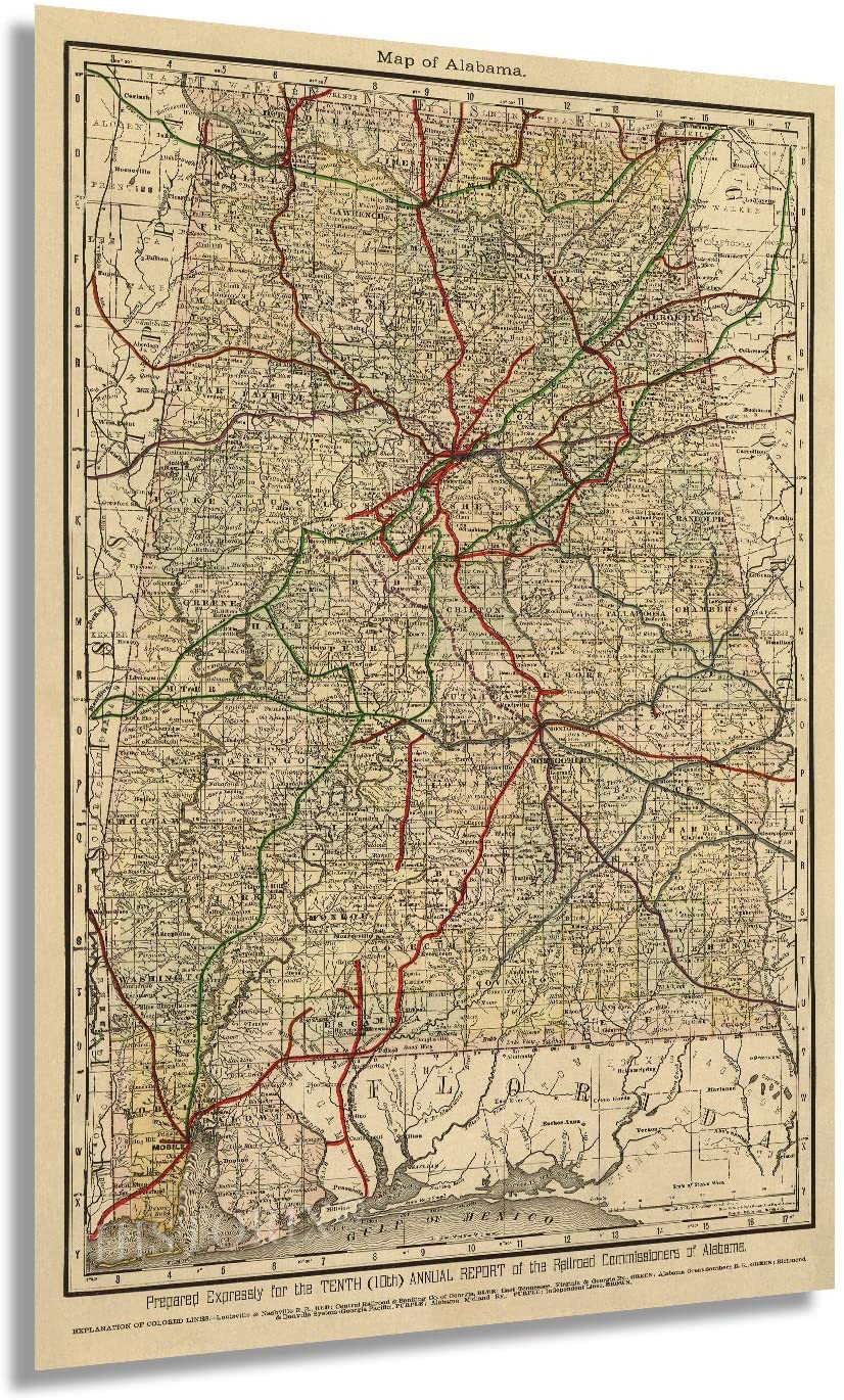 1888 Map of Alabama