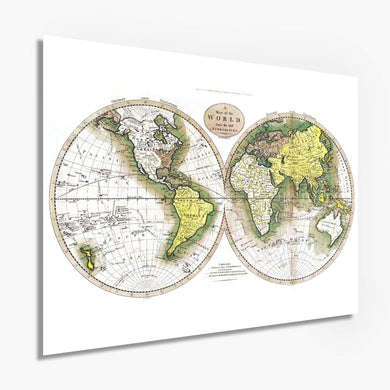 Historix Vintage 1795 Map of The World - (White)