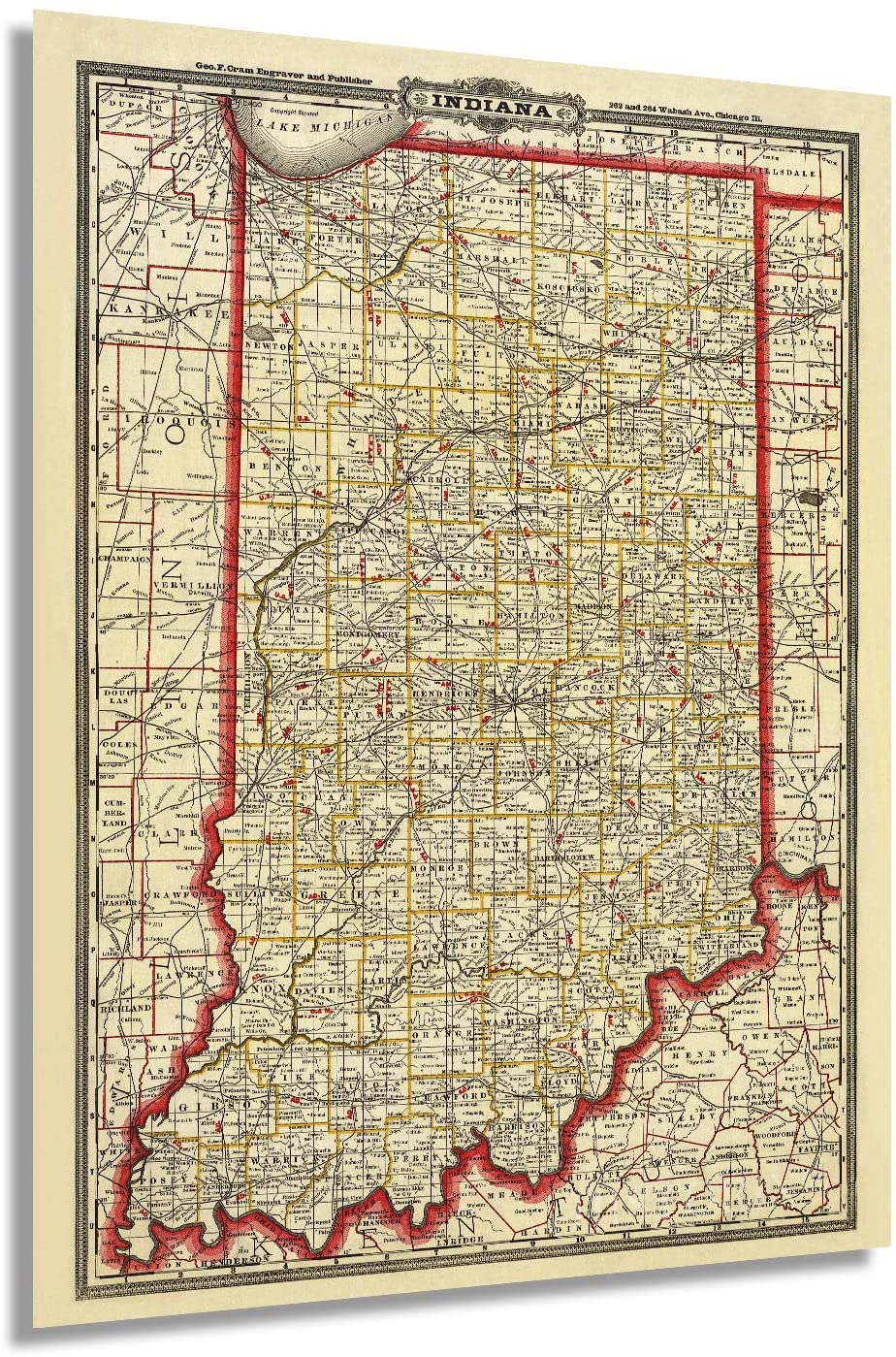 Historix 1888 Map of Indiana