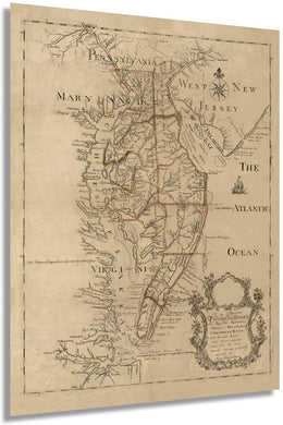 1786 Map of the Peninsula Between Delaware & Chesopeak Bays