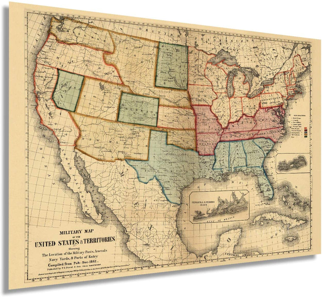 1861 Military map of the United States & territories