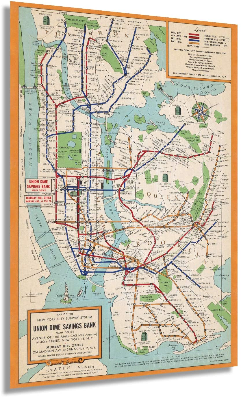 Historix 1954 New York City Subway Map Poster