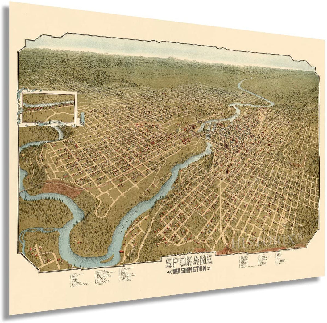 1905 Spokane Washington Map - Vintage Spokane Wall Art - Old Spokane Washington Map - Historic Spokane Map Poster - Bird's Eye View of Spokane WA Map