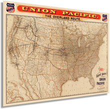 Load image into Gallery viewer, HISTORIX 1892 Map of The United States Union Pacific Overland Route