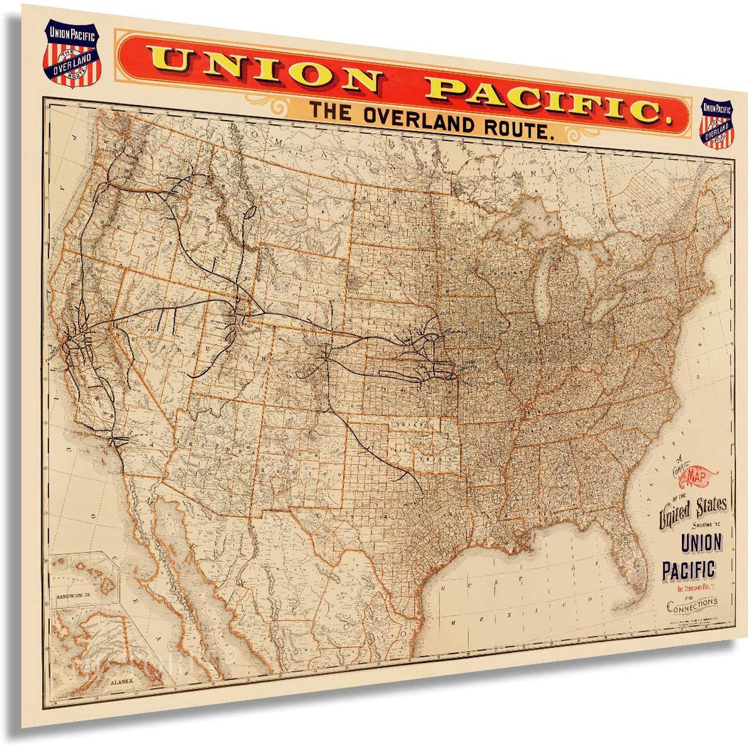 HISTORIX 1892 Map of The United States Union Pacific Overland Route