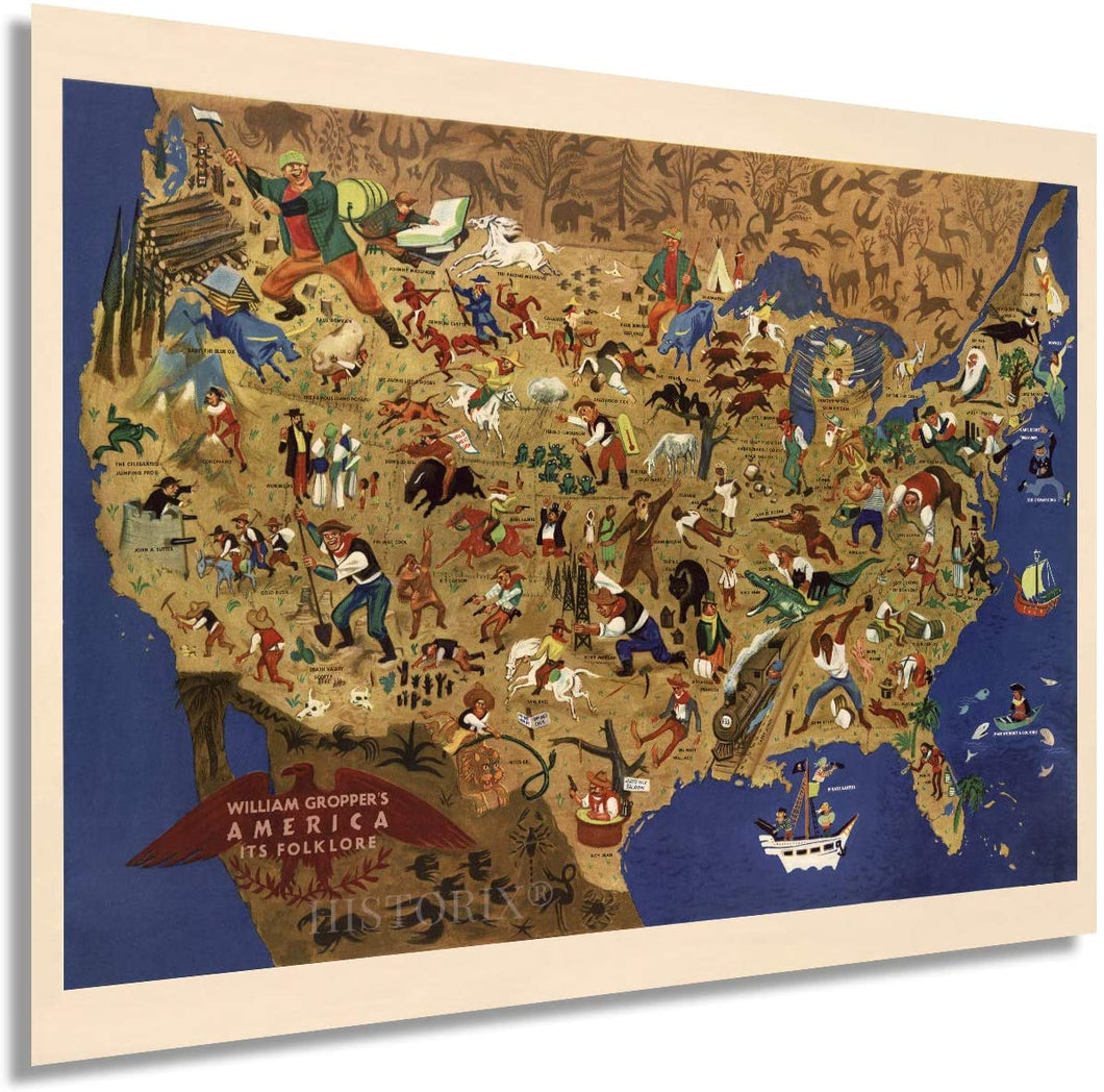 1946 Map of William Gropper's America, its folklore. United States