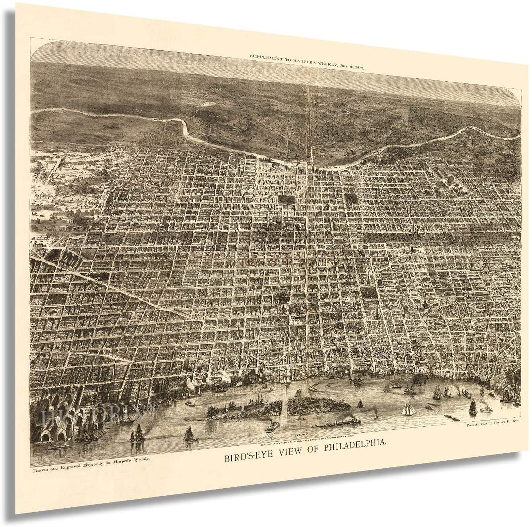 1872 Map of Philadelphia Pennsylvania - Vintage Map of Philadelphia Wall Art - Old Wall Map of Philadelphia City Poster - Bird's Eye View Philadelphia Map Poster