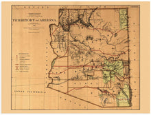 Load image into Gallery viewer, 1876 Arizona Territory Map - Vintage Arizona Map - Old Arizona Territory Map - Historic Map of Arizona Wall Art from The Official Records of General Land Office