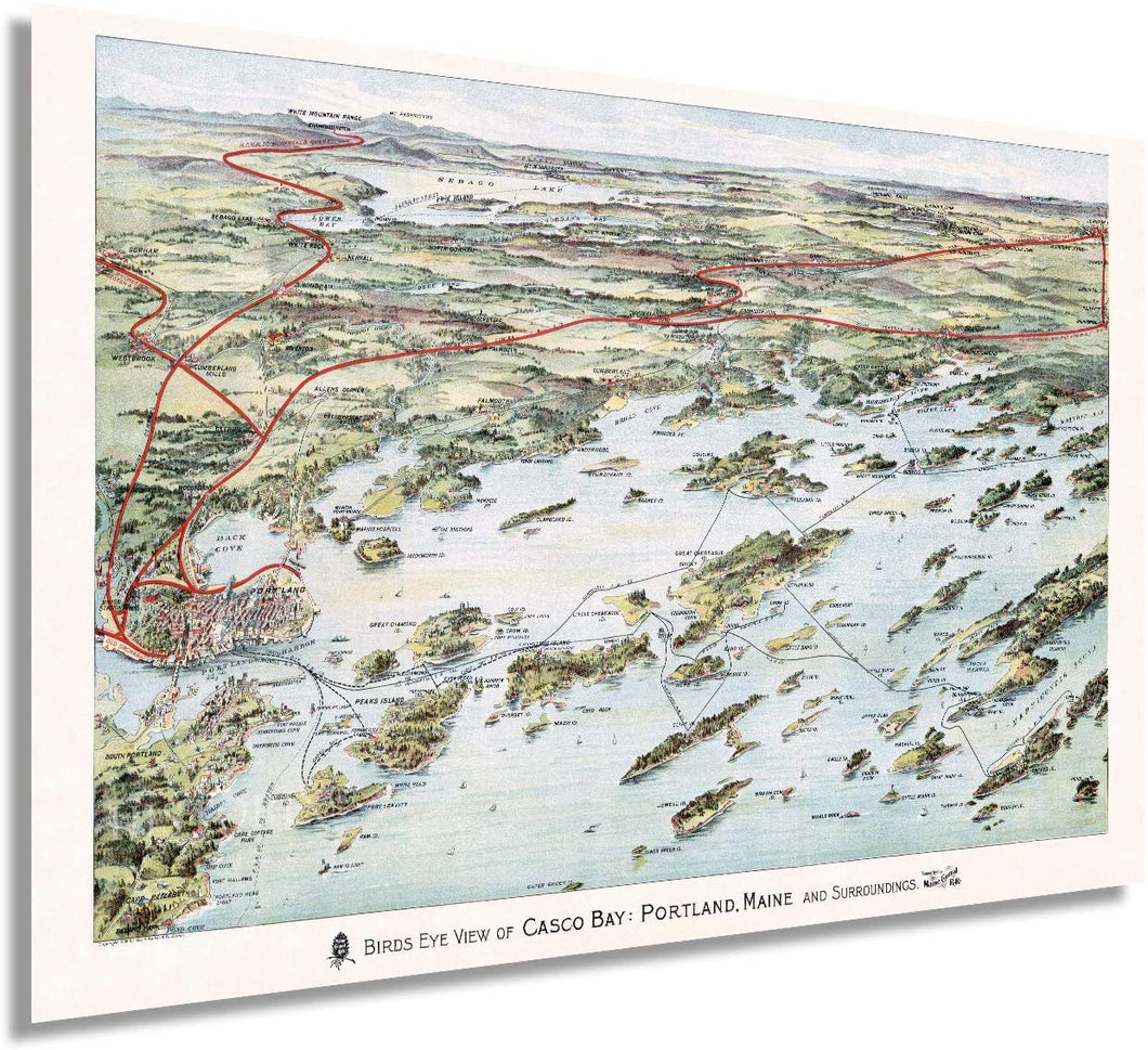 1906 Map Birds Eye View of Casco Bay, Portland, Maine