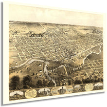 Load image into Gallery viewer, 1868 City of Fort Wayne Indiana Map - Vintage Map of Fort Wayne Wall Art - Fort Wayne Vintage Map with Index and Points of Interest - Fort Wayne Map Poster