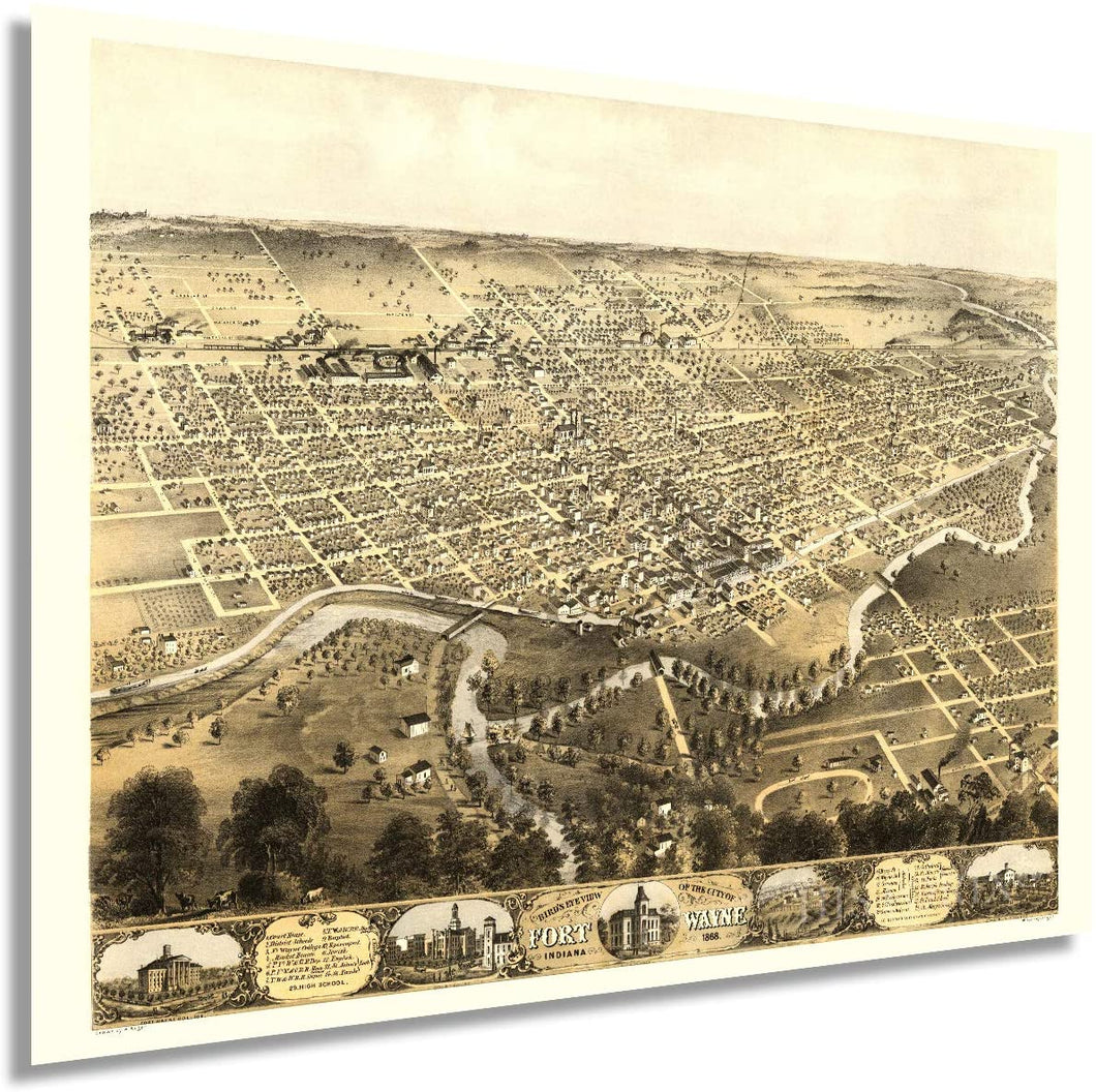 1868 City of Fort Wayne Indiana Map - Vintage Map of Fort Wayne Wall Art - Fort Wayne Vintage Map with Index and Points of Interest - Fort Wayne Map Poster