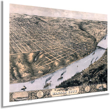Load image into Gallery viewer, 1869 Kansas City Missouri Map - Vintage Kansas City Map Art - Bird's Eye View Map of Kansas City Wall Art - Kansas City Wall Decor - Old Kansas City Poster