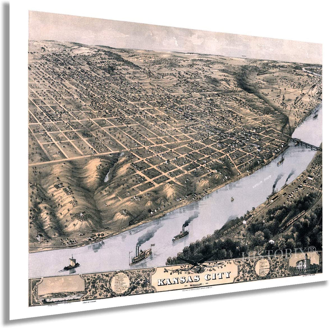 1869 Kansas City Missouri Map - Vintage Kansas City Map Art - Bird's Eye View Map of Kansas City Wall Art - Kansas City Wall Decor - Old Kansas City Poster