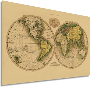 Historix Vintage 1795 Map of The World from The Best Authorities - Restored Vintage Map of The World - Vintage World Map Poster - Old Style World Map - (Tan)