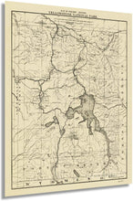Load image into Gallery viewer, 1900 Map of the tourist routes, Yellowstone National Park.