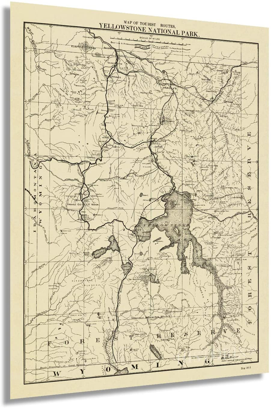 1900 Map of the tourist routes, Yellowstone National Park.