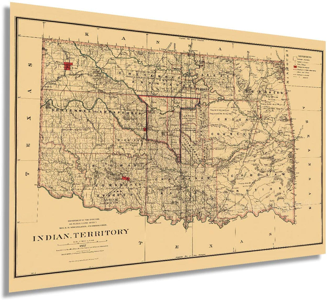 1887 Indian Territory Map
