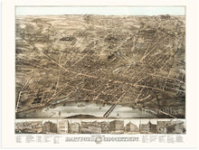 Load image into Gallery viewer, 1877 Hartford Map - Vintage Map of Hartford CT - Bird's Eye View Map of Hartford Connecticut Wall Art - Old Hartford City Map - Historic Hartford Poster