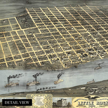 Load image into Gallery viewer, 1871 Little Rock Arkansas Map - Vintage Little Rock Wall Art Poster - Old Little Rock AR Map - Bird's Eye View of Little Rock Arkansas Looking South West