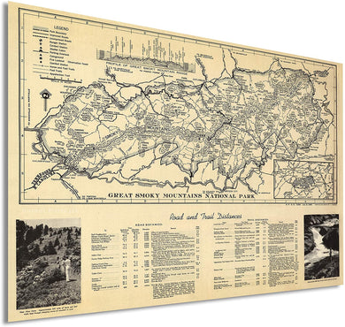 Enhanced Vintage Great Smoky Mountains National Park Map - 1940 Great Smoky Mountains Trail Map - Appalachian Trail North Carolina Tennessee Poster - Inch Ready to Frame Wall Art