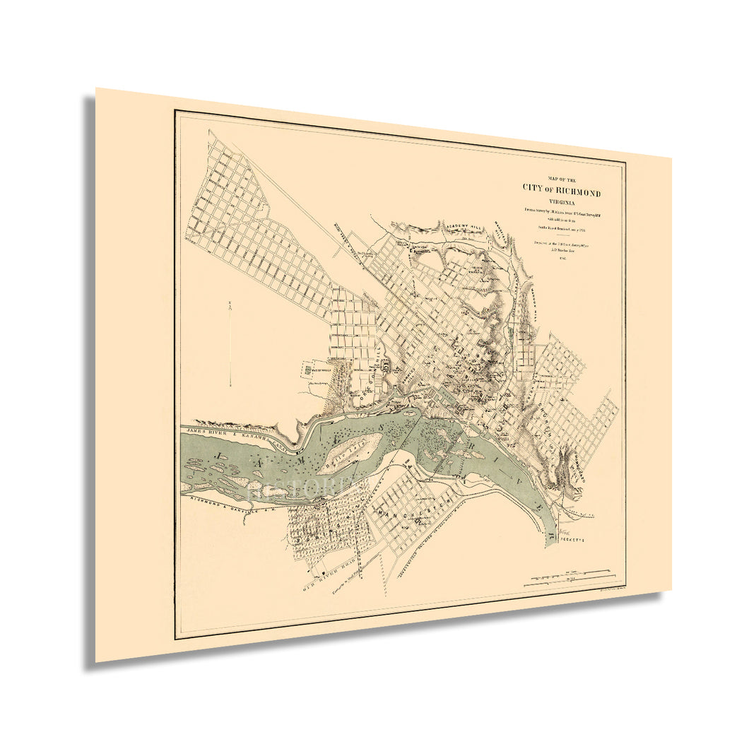 1864 Richmond Virginia Map - Vintage Richmond Map Wall Art - Historic Map of Richmond VA Poster - Old Richmond Map - City of Richmond VA Map Print