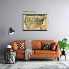 Load image into Gallery viewer, 1862 Military Map of the United States - Vintage Map of the United States - American Civil War Map showing forts and fortifications - US Civil War Map
