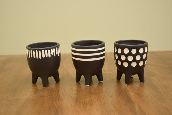 Mini Black Patterned Planter on Legs