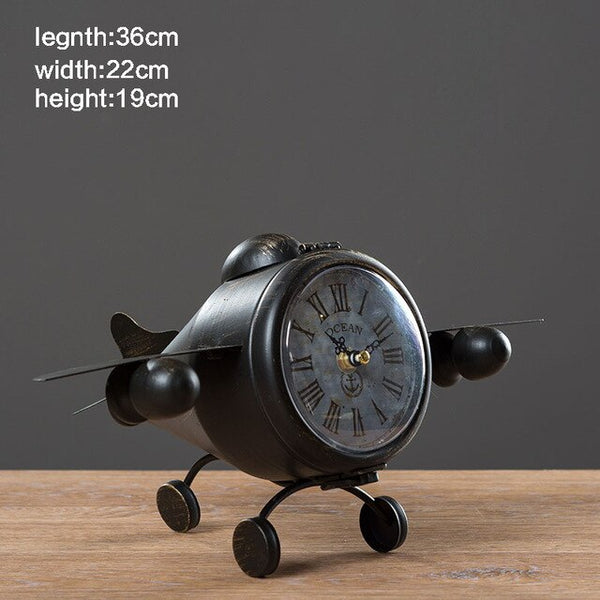 Antique Airplane Table Clock