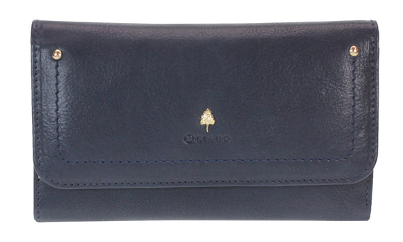 Oriano Purse - Verona 17.5 cm Foldover Trifold Purse in Navy