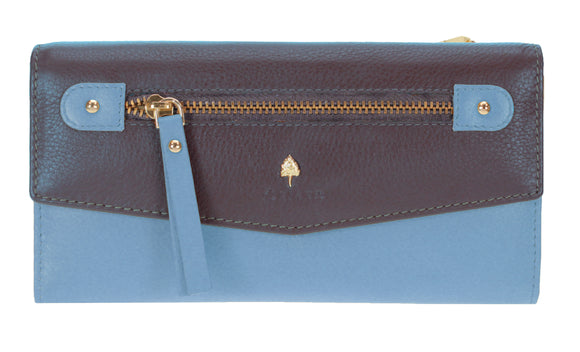 Oriano Purse - Catania 19.5 cm Foldover, Folddown Purse With Back Zip Top in Navy Blue