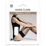 Black 10 Denier Satin Sheen Appearance Lace Top Hold Ups