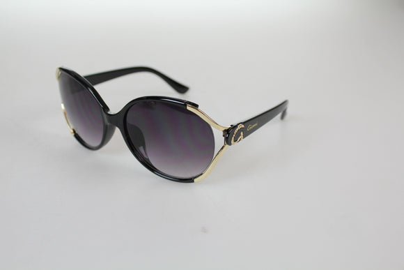 Gionni Sunglasses - Large Round Plastic With G Side Arm Logo Sunglasses in Black