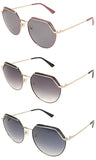 Gionni Sunglasses - Light  Round Frame With Metal Brow Sunglasses in Shiny Silver