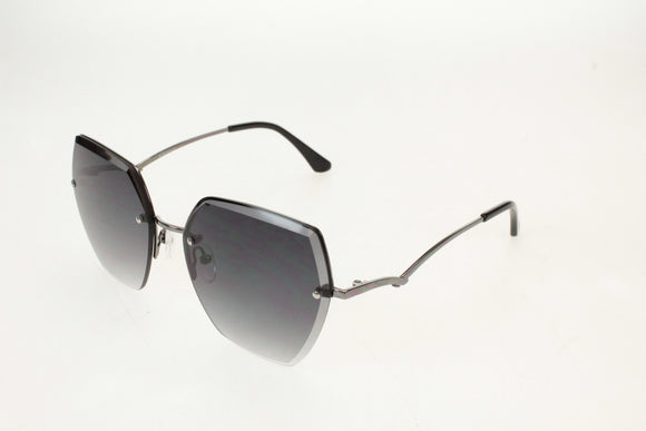 Gionni Sunglasses - Half Frame Metal Connect Side Arms in Shiny Gunmetal