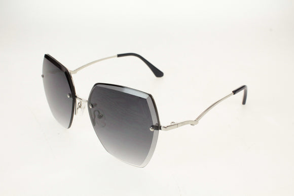 Gionni Sunglasses - Half Frame Metal Connect Side Arms in Shiny Silver