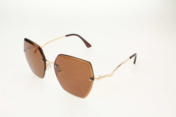 Gionni Sunglasses - Half Frame Metal Connect Side Arms in Gold