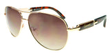 Gionni Sunglasses - Double Bridge Aviator Temple Logo Sunglasses in Torta/Gold
