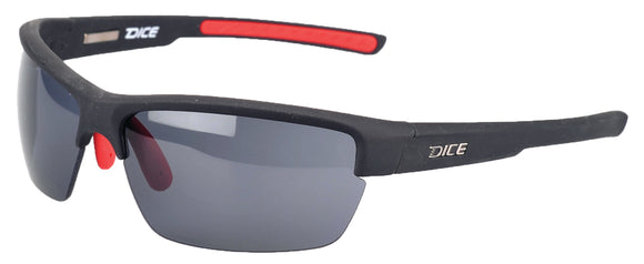 Dice Sunglasses - Gents Half Frame Plastic Sport in Black/Red