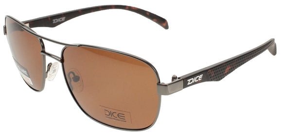 Dice Sunglasses - Gents Classic Metal Frame Plastic Arms Polarised Lens in Brown