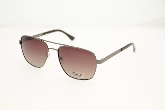 Dice Sunglasses - Gents Large Metal Square High Quality Stainless Steel & Polarized Lenses in Matt Gunmetal/Brown