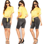 Womens Middle Rise Elastic Denim Shorts Knee Length Curvy Bermuda Stretch Short Jeans