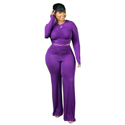 Winter Two Piece Set Long Sleeve Tops And Pants Ruched Large Women's 2 Piece Set Activewear Sexy Outfits Plus Size XL~5XL 2021