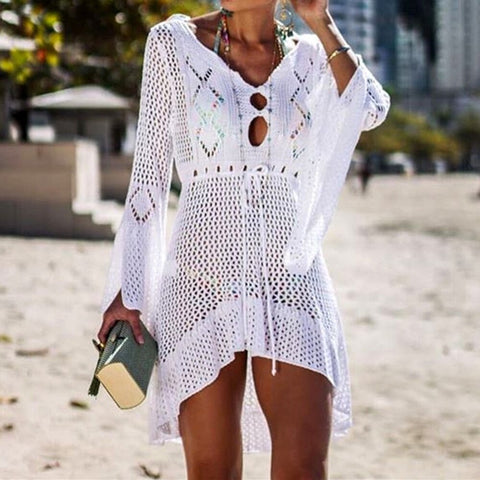 Summer Swimsuit Cover Up Sexy See-through Beach Dress