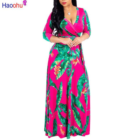 HAOOHU Plus Size Long Dresses With half Sleeve Women Summer Retro Floral Printing Vintage Dress  Floor Length Party Dress D2261