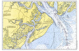 St. Helena Sound to Savnnah River Nautical Chart Placemat - 4 pack - mysignalflags
