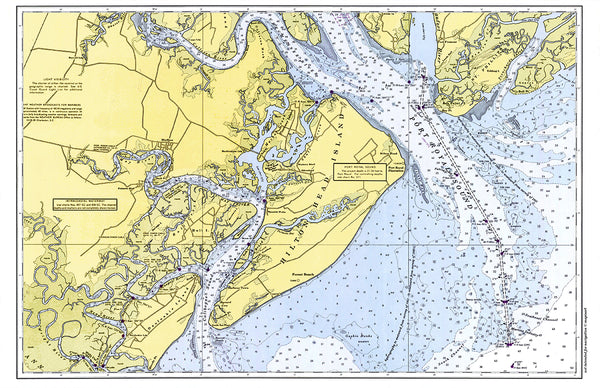 St. Helena Sound to Savnnah River Nautical Chart Placemat - 4 pack