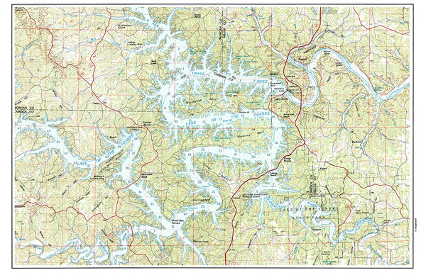 Lake of the Ozarks MO Vintage Topo Map Placemat - 4 pack