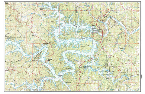 Lake of the Ozarks MO Vintage Topo Map Placemat - 4 pack - mysignalflags