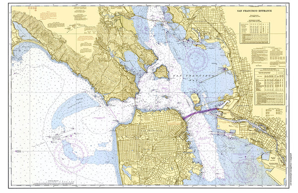 San Francisco Bay, CA Nautical Chart Placemat - 4 pack