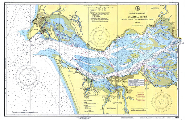 Columbia River, Oregon - Washington Nautical Chart Placemat - 4 pack
